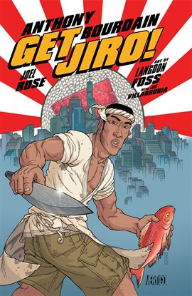 Comic book cover image: sushi chef with fish and knife, in front of rising sun graphic