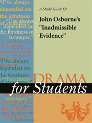 "A Study Guide for John Osborne's ""inadmissible Evidence"""