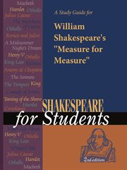 "A Study Guide for William Shakespeare's ""measure for Measure"""