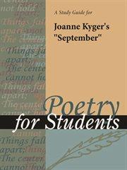 """A Study Guide for Joanne Kyger's """"september"""""""