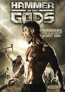 Cover image for Hammer of the Gods featuring an armed warrior mid-scream with a battle being fought in the background