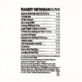 Cover image for Randy Newman / Live